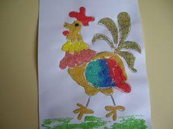 Рисунок - петух из манки и красок