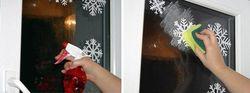 Приклеивание снежинок на стекло